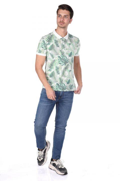 Erkek Yeşil Yapraklı Polo Yaka T-Shirt
