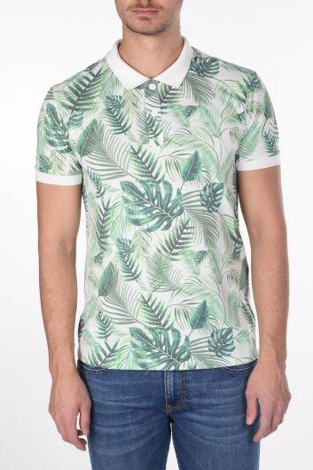 Erkek Yeşil Yapraklı Polo Yaka T-Shirt - Thumbnail