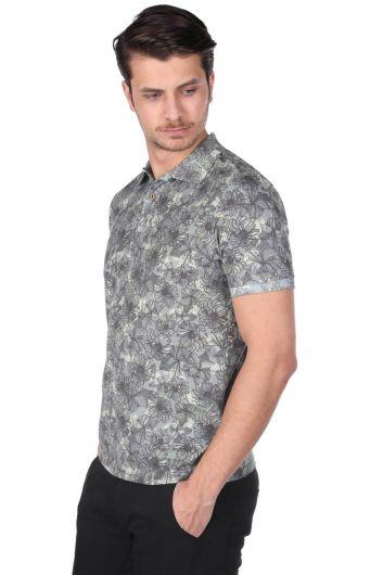 MARKAPIA - Erkek Çiçek Desenli Polo Yaka T-Shirt (1)