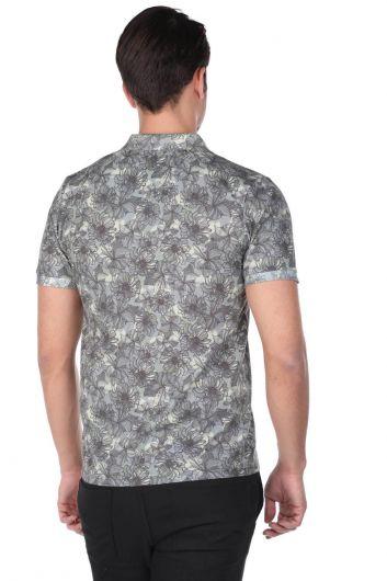 Erkek Çiçek Desenli Polo Yaka T-Shirt - Thumbnail