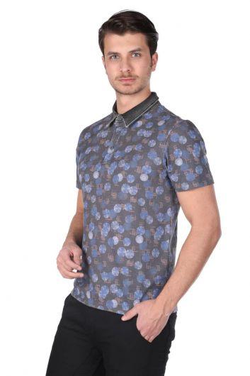 MARKAPIA - Erkek Yuvarlak Desenli Polo Yaka T-Shirt (1)