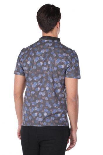 Erkek Yuvarlak Desenli Polo Yaka T-Shirt - Thumbnail