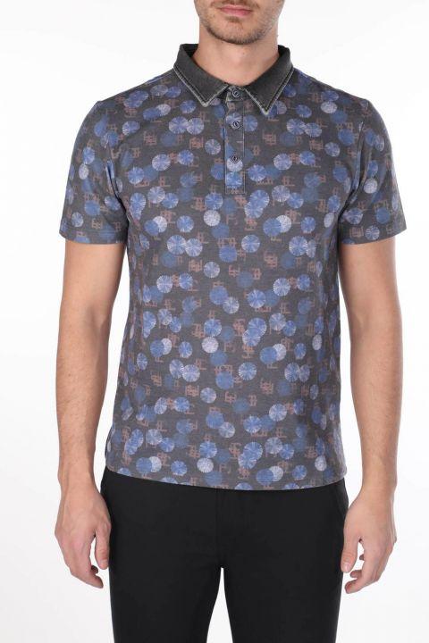 Erkek Yuvarlak Desenli Polo Yaka T-Shirt