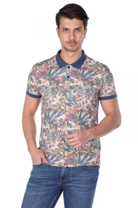 Erkek Mavi Çiçek Desenli Polo Yaka T-Shirt