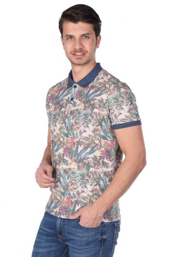 MARKAPIA - Erkek Mavi Çiçek Desenli Polo Yaka T-Shirt (1)