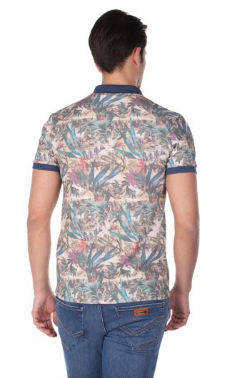 Erkek Mavi Çiçek Desenli Polo Yaka T-Shirt - Thumbnail