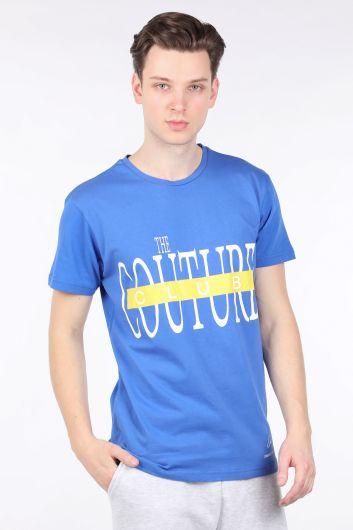 Erkek Saks Mavisi Couture Baskılı Bisiklet Yaka T-shirt - Thumbnail
