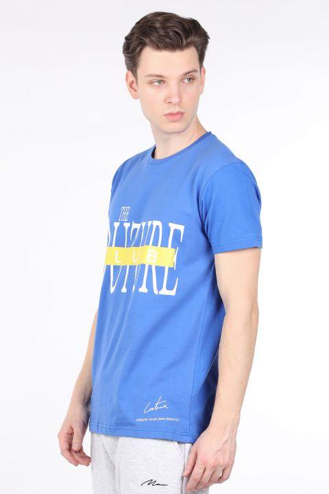 Erkek Saks Mavisi Couture Baskılı Bisiklet Yaka T-shirt
