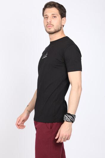 COUTURE - Erkek Siyah Arkası Baskı Yazılı Bisiklet Yaka T-shirt (1)