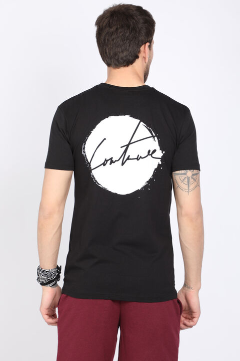 Erkek Siyah Arkası Baskı Yazılı Bisiklet Yaka T-shirt