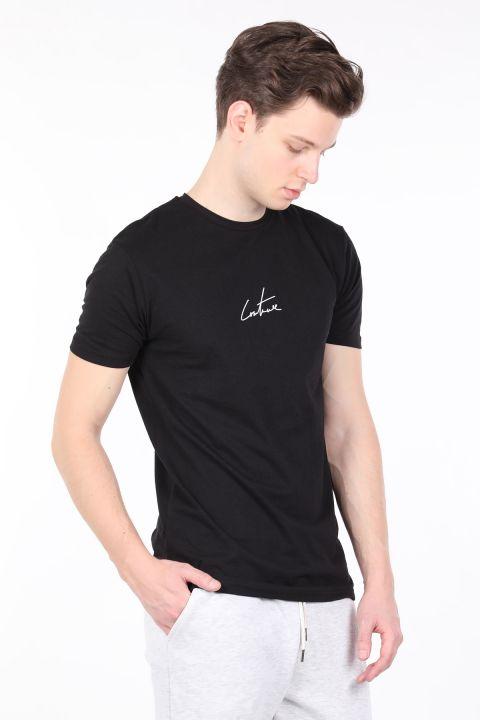 Erkek Siyah Arkası Yazılı Bisiklet Yaka T-shirt