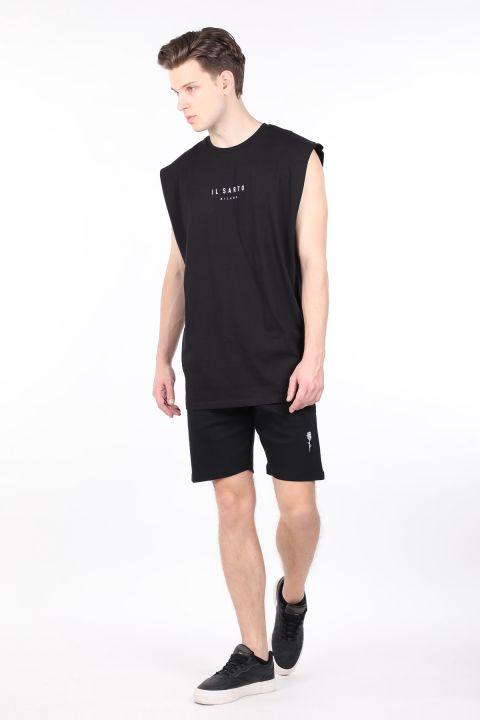 Erkek Siyah Bisiklet Yaka Kolsuz T-shirt