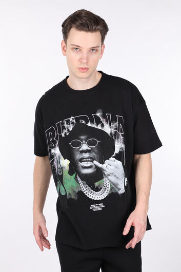 Erkek Siyah Burna Boy Baskılı Bisiklet Yaka T-shirt - Thumbnail