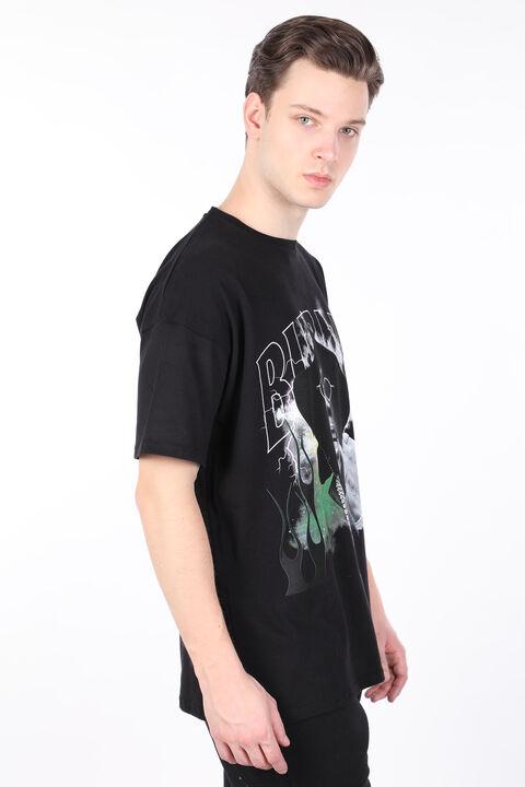 Erkek Siyah Burna Boy Baskılı Bisiklet Yaka T-shirt