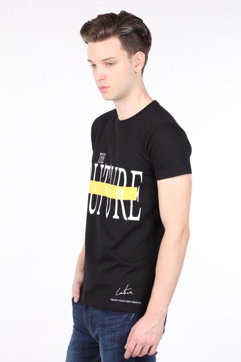Erkek Siyah Couture Baskılı Bisiklet Yaka T-shirt
