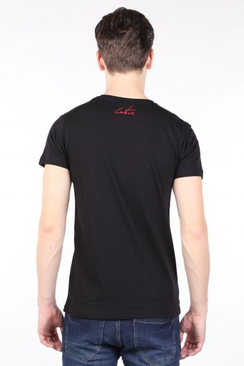 Erkek Siyah Couture Baskılı Bisiklet Yaka T-shirt - Thumbnail