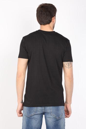 Erkek Siyah Düz Bisiklet Yaka T-shirt - Thumbnail