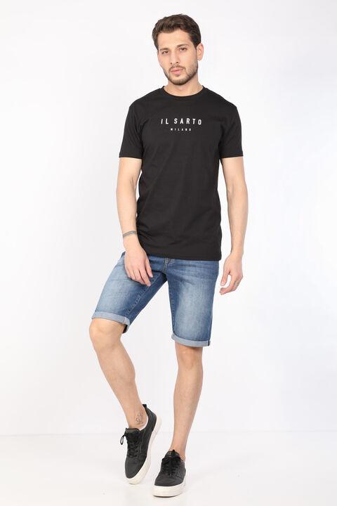 Erkek Siyah Düz Bisiklet Yaka T-shirt