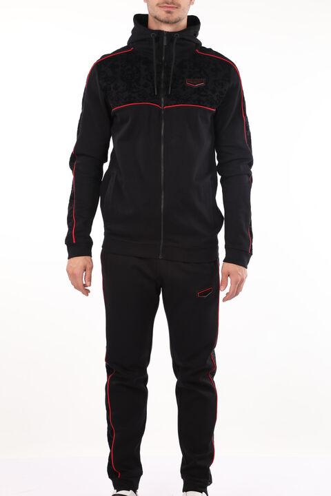 Erkek Siyah Kabartma Desenli Kapüşonlu Sweatshirt