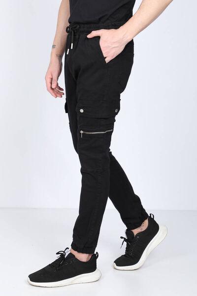 BLUE WHITE - Erkek Siyah Kargo Cepli Jogger Pantolon (1)