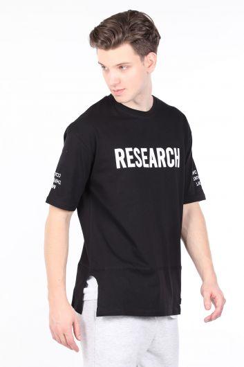 MARKAPIA MAN - Erkek Siyah Parçalı Bisiklet Yaka T-shirt (1)