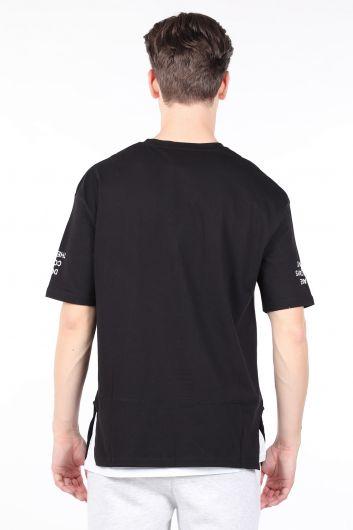 Erkek Siyah Parçalı Bisiklet Yaka T-shirt - Thumbnail
