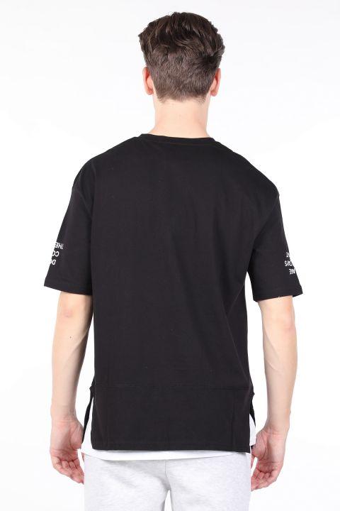 Erkek Siyah Parçalı Bisiklet Yaka T-shirt
