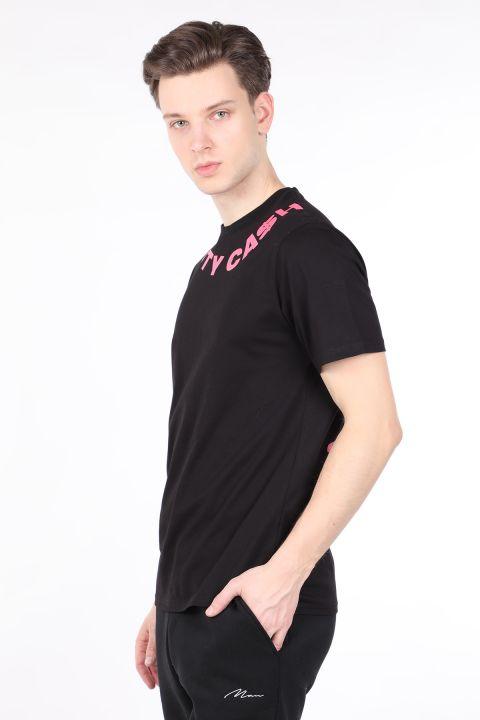 Erkek Siyah Sırtı Baskılı Bisiklet Yaka T-shirt