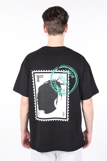 Erkek Siyah Sırtı Burna Boy Baskılı Bisiklet Yaka T-shirt - Thumbnail