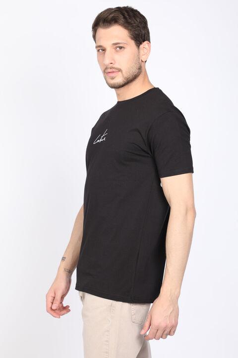Erkek Siyah Sırtı Yazılı Bisiklet Yaka T-shirt
