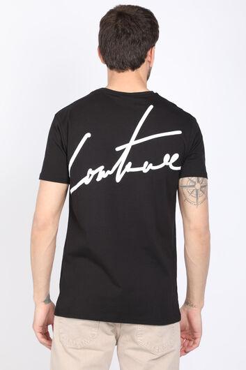 Erkek Siyah Sırtı Yazılı Bisiklet Yaka T-shirt - Thumbnail