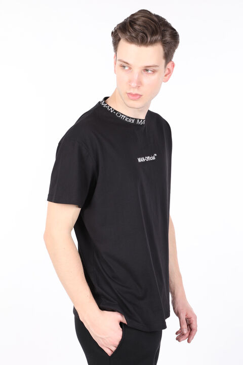 Erkek Siyah Yakası Ribanalı Yazılı Bisiklet Yaka T-shirt