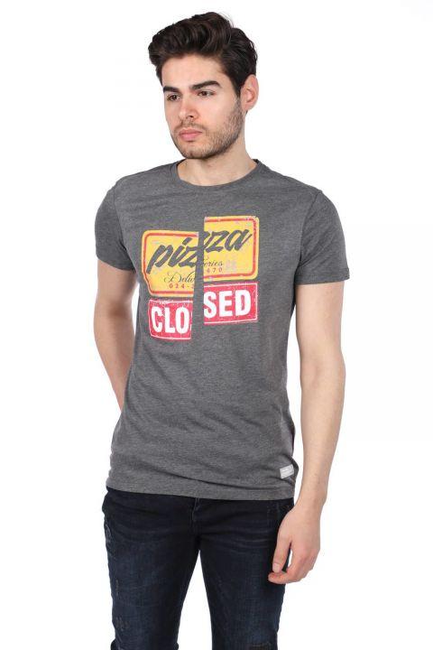 Renkli Baskılı Erkek Bisiklet Yaka T-Shirt
