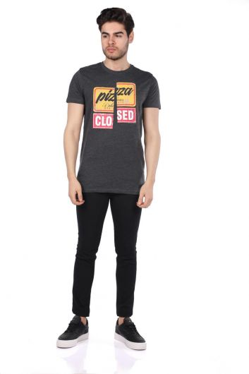 Renkli Baskılı Erkek Bisiklet Yaka T-Shirt - Thumbnail