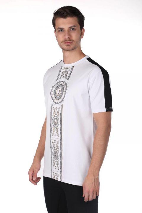 Erkek Baskılı Bisiklet Yaka T-Shirt
