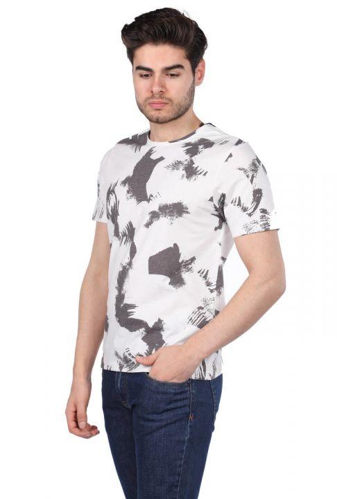 Benekli Erkek Bisiklet Yaka T-Shirt