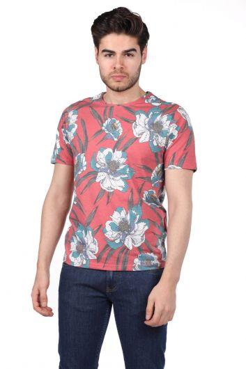 Erkek Çiçek Desenli T-Shirt - Thumbnail