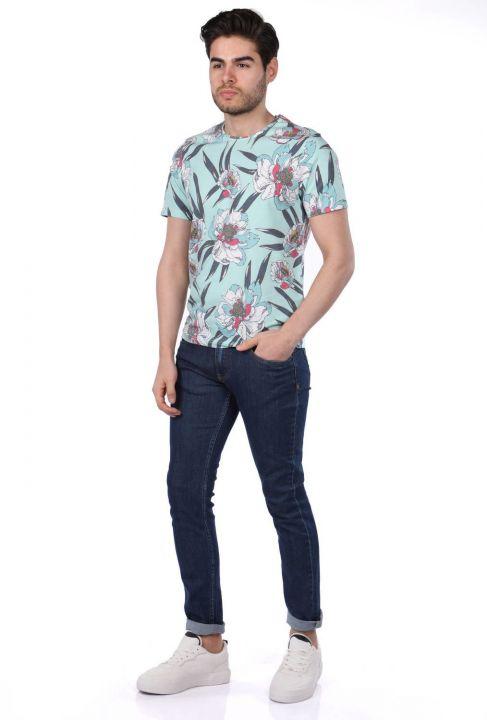 Erkek Çiçek Desenli Bisiklet Yaka T-Shirt