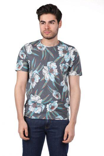 PHAZZ - Erkek Çiçek Desenli Bisiklet Yaka T-Shirt (1)