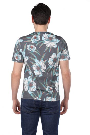 Erkek Çiçek Desenli Bisiklet Yaka T-Shirt - Thumbnail
