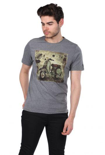 PHAZZ - Scooter Baskılı Erkek Bisiklet Yaka T-Shirt (1)