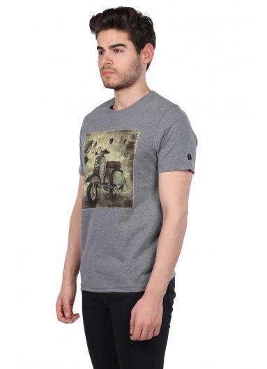 Scooter Baskılı Erkek Bisiklet Yaka T-Shirt - Thumbnail