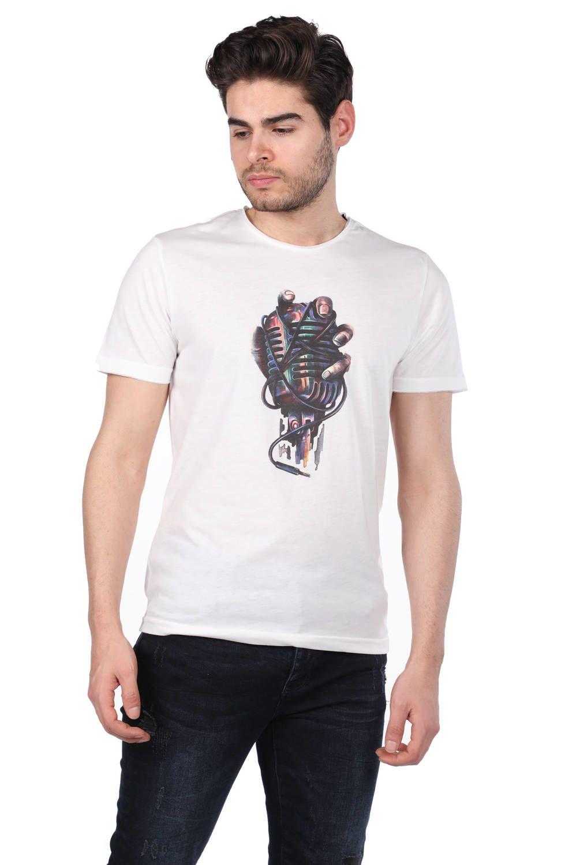 Mikrofon Baskılı Erkek T-Shirt