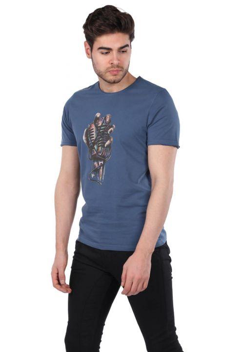 Mikrofon Baskılı Erkek Bisiklet Yaka T-Shirt