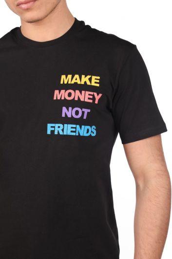Erkek Bisiklet Yaka Taşlı T-Shirt - Thumbnail