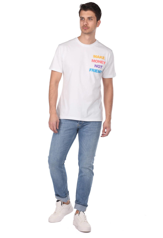 Erkek Bisiklet Yaka Taşlı T-Shirt