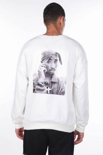 MARKAPIA MAN - Erkek Tupac Baskılı Beyaz Bisiklet Yaka Sweatshirt (1)