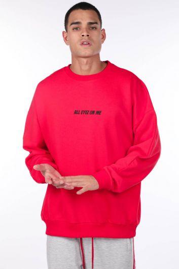 Erkek Tupac Baskılı Kırmızı Bisiklet Yaka Sweatshirt - Thumbnail