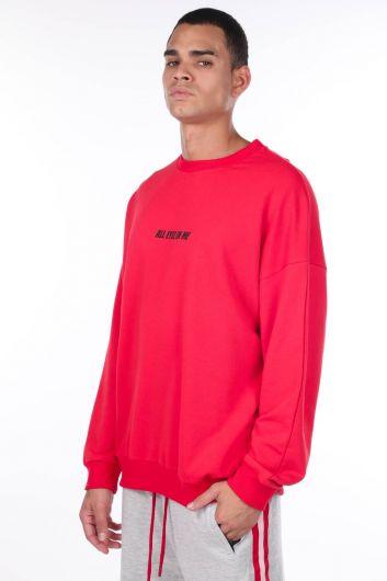 MARKAPIA MAN - Erkek Tupac Baskılı Kırmızı Bisiklet Yaka Sweatshirt (1)