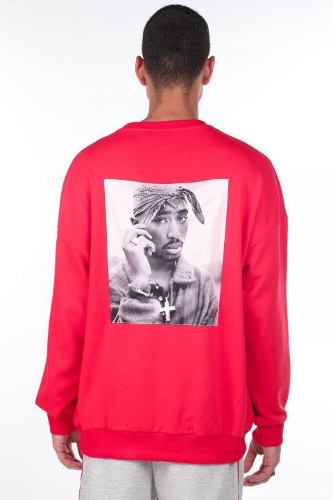 Erkek Tupac Baskılı Kırmızı Bisiklet Yaka Sweatshirt